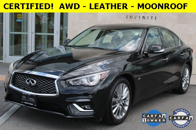 certified pre owned 2019 infiniti q50 3 0t luxe awd leather moonroof free maintenance